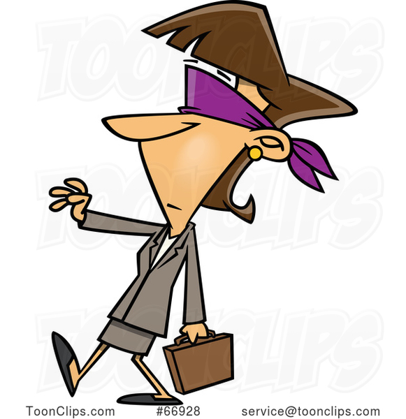 Cartoon Blindfolded White Businesswoman Walking with a Hand out