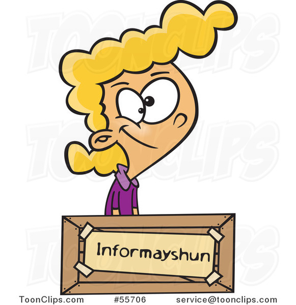 Cartoon Blond Girl at an Information Desk, with a Mis-spelled Sign