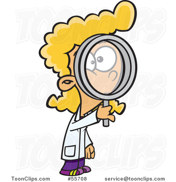 Cartoon Blond Scientist Girl Looking Through a Magnifying Glass