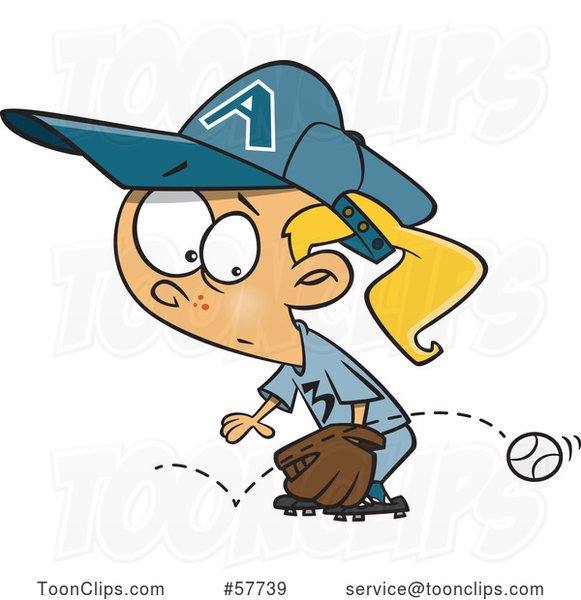 Cartoon Blond White Girl Baseball Player Trying to Stop a Grounder Ball