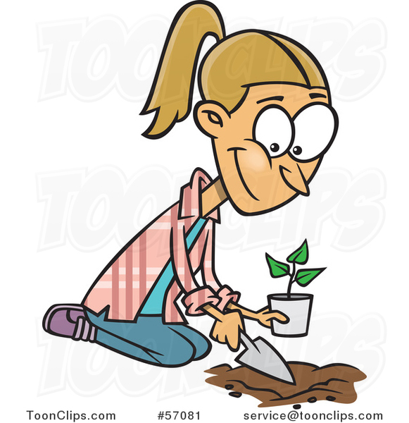 Cartoon Blond White Lady Kneeling and Planting a Seedling