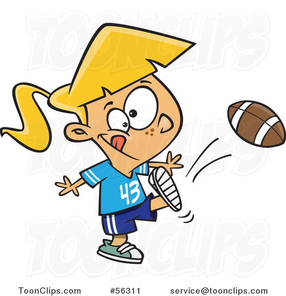 Cartoon Blond White Tom Boy Girl Kicking a Football