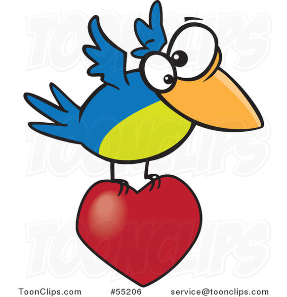 Cartoon Blue and Green Bird Flying with a Heart