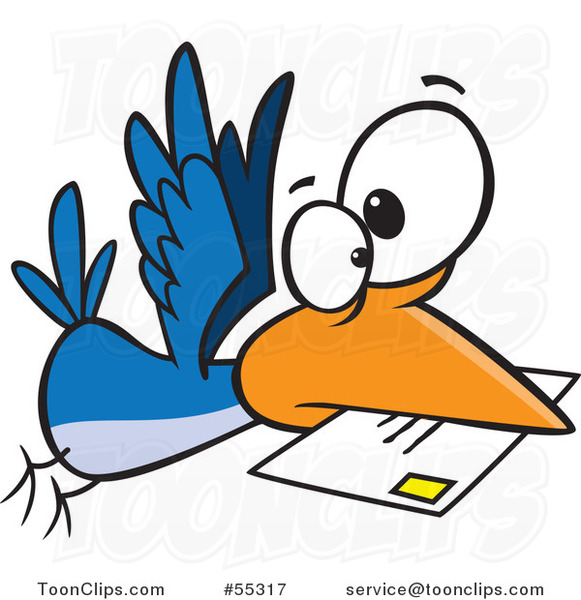 Cartoon Blue Bird Delivering Air Mail