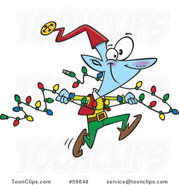 Cartoon Blue Christmas Elf Running with a Strand of Lights