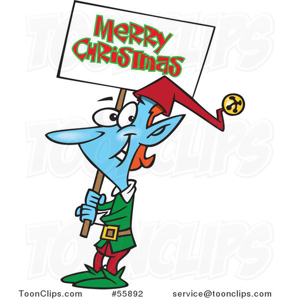 Cartoon Blue Elf Carrying a Merry Christmas Sign