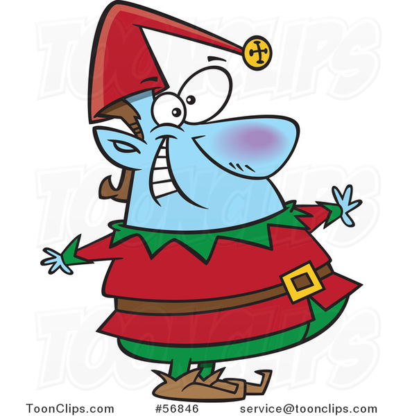 Cartoon Blue Fat Christmas Elf