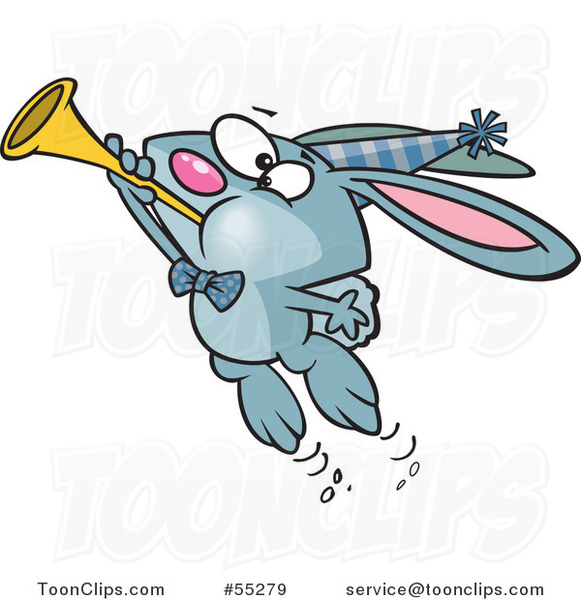 Cartoon Blue New Year Party Rabbit Blowing a Horn