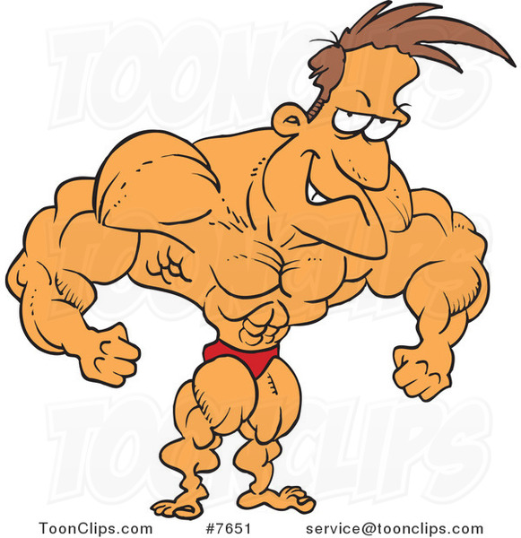 Cartoon Bodybuilder Flexing