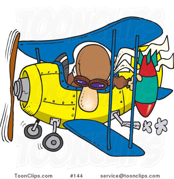 Cartoon Bomber Guy In A Biplane Preparing To Drop A Bomb