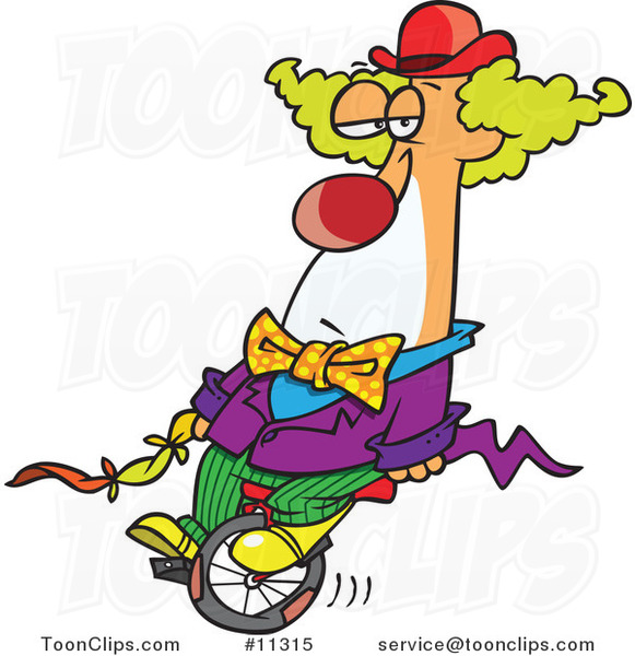 Cartoon Bored Clown on a Unicycle
