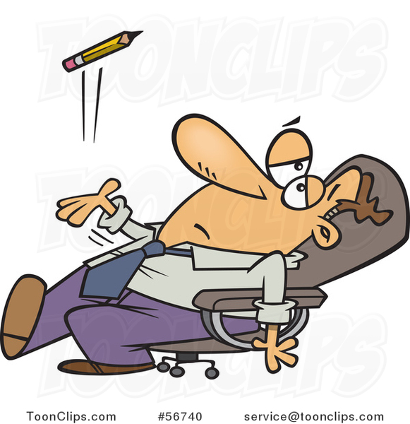 Cartoon Bored White Executive Business Man Leaning Back in His Chair and Tossing a Pencil