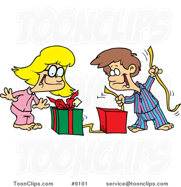 Cartoon Boy and Girl Opening Christmas Gifts