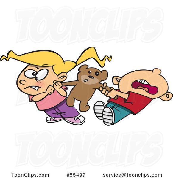 Cartoon Boy And Girl Quarreling Over Sharing A Teddy Bear
