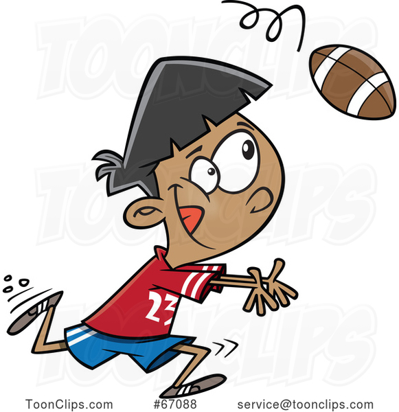 Cartoon Boy Catching a Football