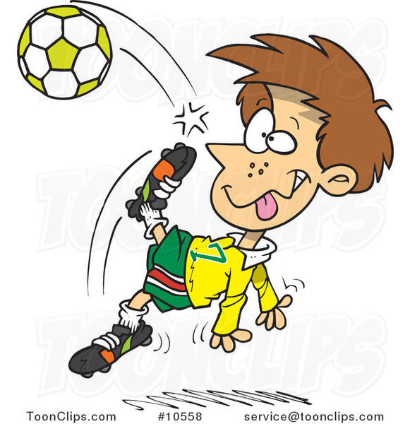 Cartoon Boy Doing a Soccer Kick