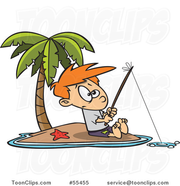 Cartoon Boy Fishing on a Tropical Island