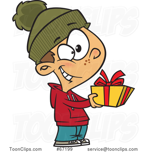 Cartoon Boy Giving a Christmas Gift