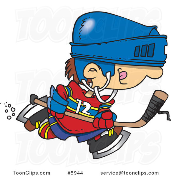 Cartoon Boy Hockey Player
