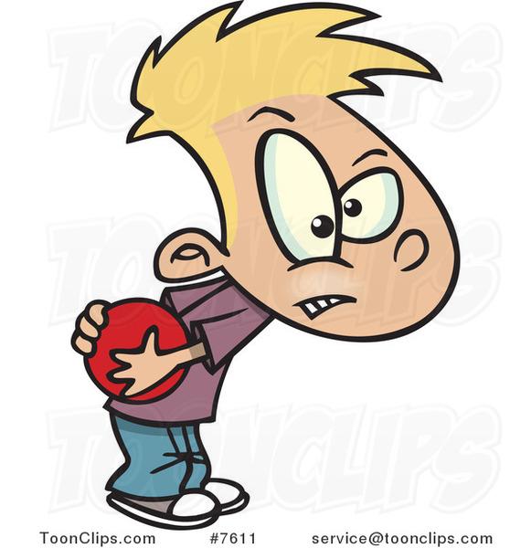 Cartoon Boy Hogging a Ball #7611 by Ron Leishman