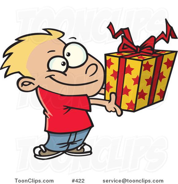 cartoon boy holding a gift box by ron leishman 422