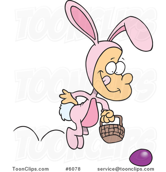 Cartoon Boy Hopping in an Easter Bunny Costume