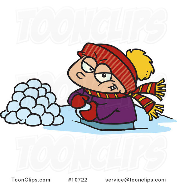 Cartoon Boy Making Snowballs for a Fight