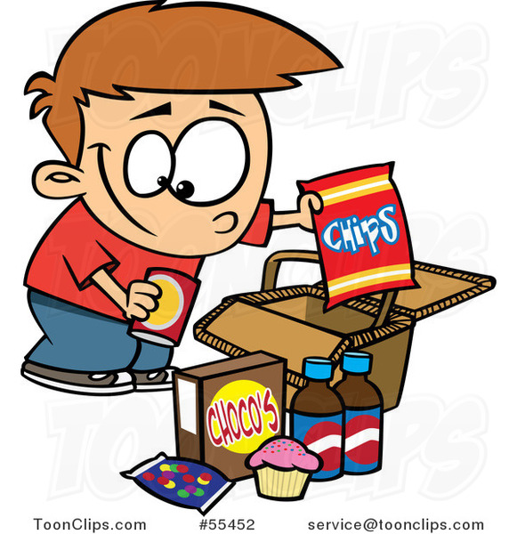 Cartoon Boy Packing Junk Food into a Picnic Basket