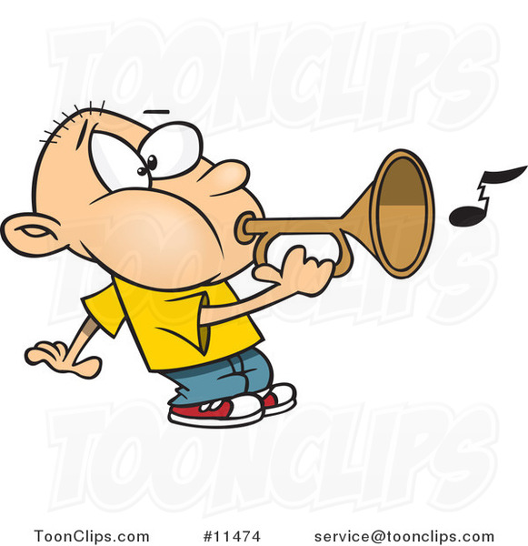 Cartoon Boy Playing a Bugle