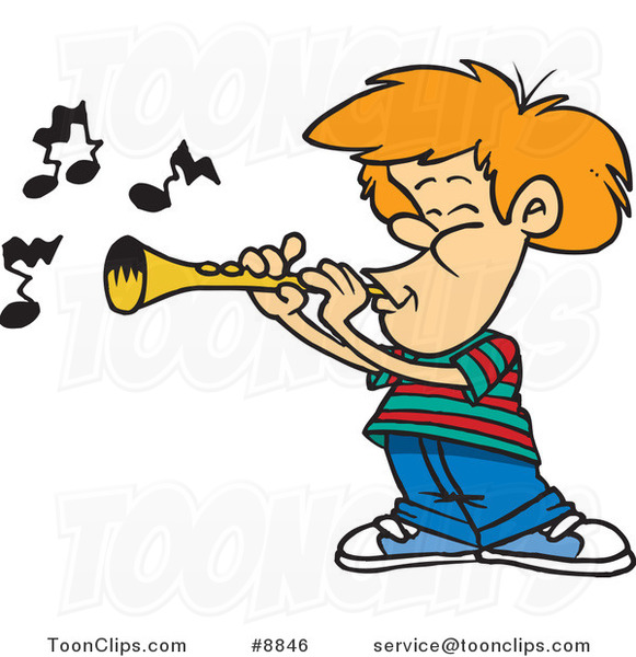 Cartoon Boy Playing a Clarinet