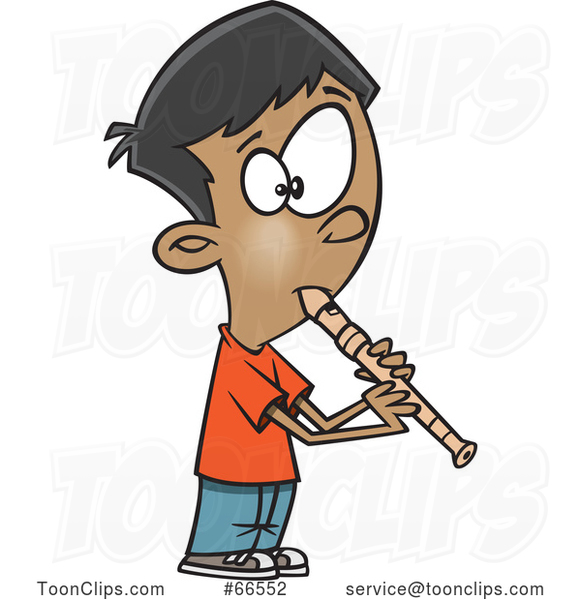 Cartoon Boy Playing a Recorder