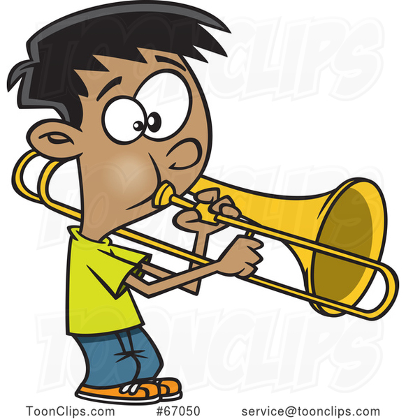Cartoon Boy Playing a Trombone