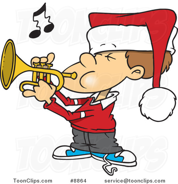Cartoon Boy Playing Christmas Music on a Trumpet