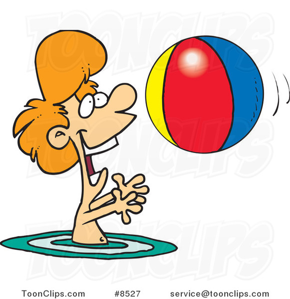 Cartoon Boy Playing with a Beach Ball in the Water
