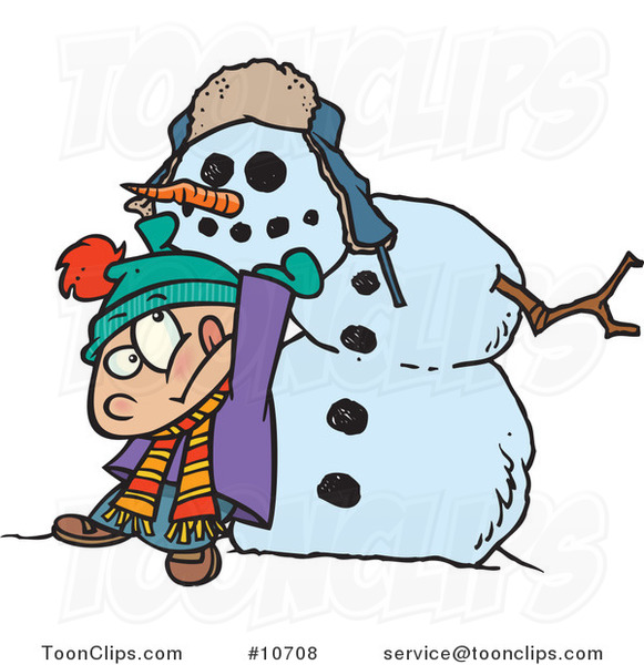 Cartoon Boy Putting a Head on a Snowman