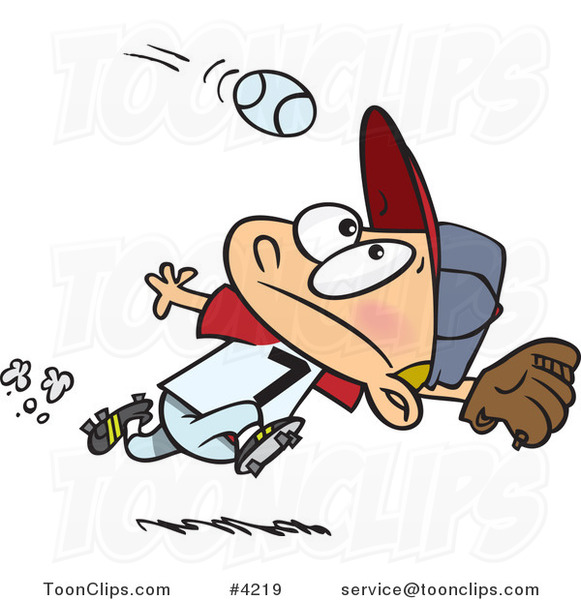 Cartoon Boy Running to Catch a Baseball