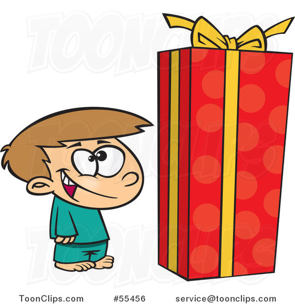 Cartoon Boy Standing by a Large Christmas Gift Box