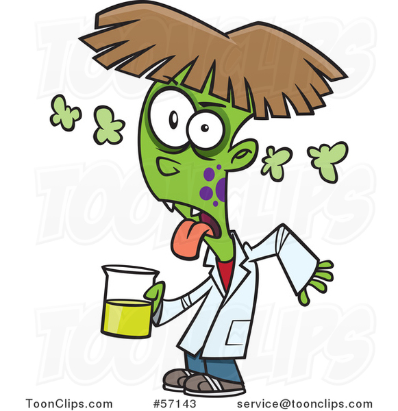 Cartoon Boy Turning into a Monster After Driking a Chemical from the Science Lab