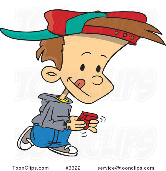 Cartoon Boy Walking and Playing a Video Game