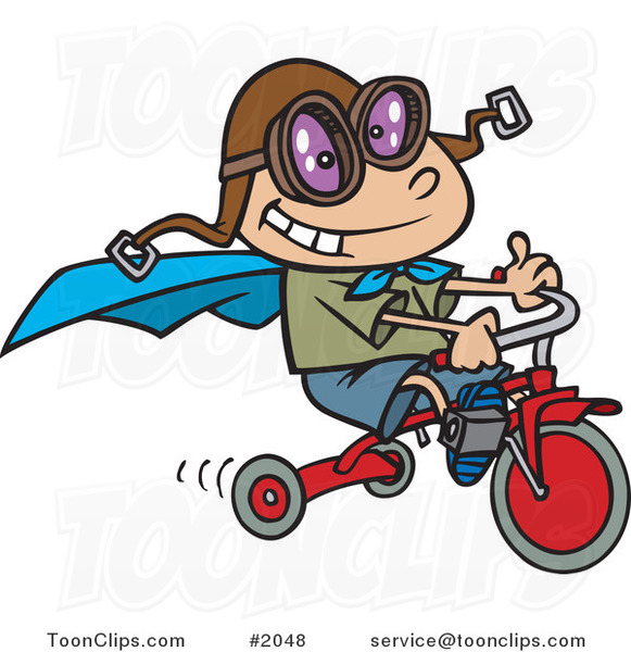 Cartoon Boy Wearing a Cape and Goggles While Riding His Trike