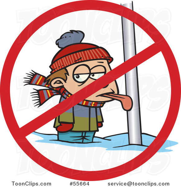 Cartoon Boy with His Tongue Stuck Frozen to a Pole with a Prohibited Symbol