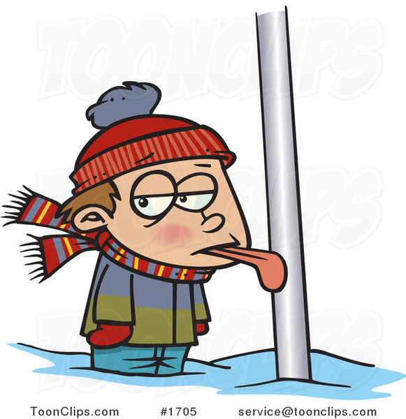 Cartoon Boy with His Tongue Stuck to a Pole