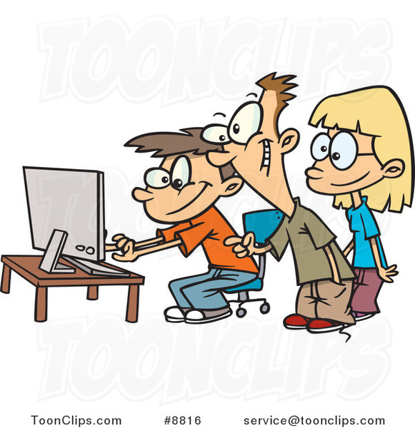 Cartoon Boys And A Girl Using A Computer 8816 By Ron Leishman