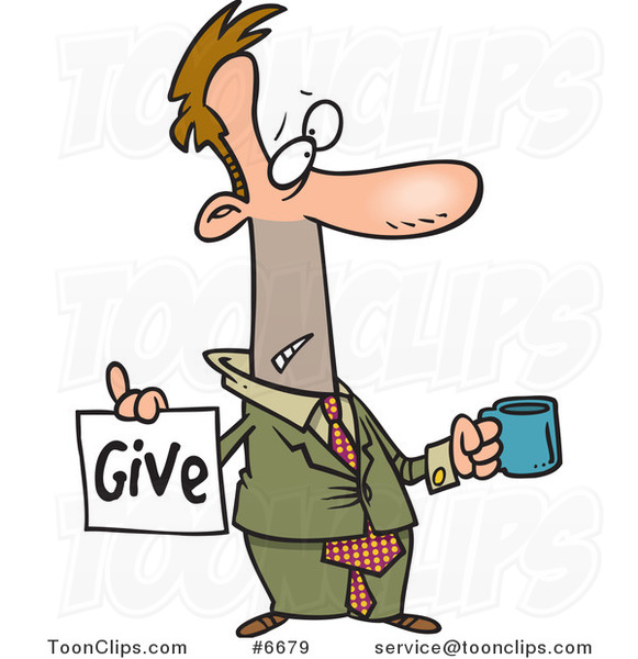 Cartoon Broke Business Man Holding a Cup and Give Sign