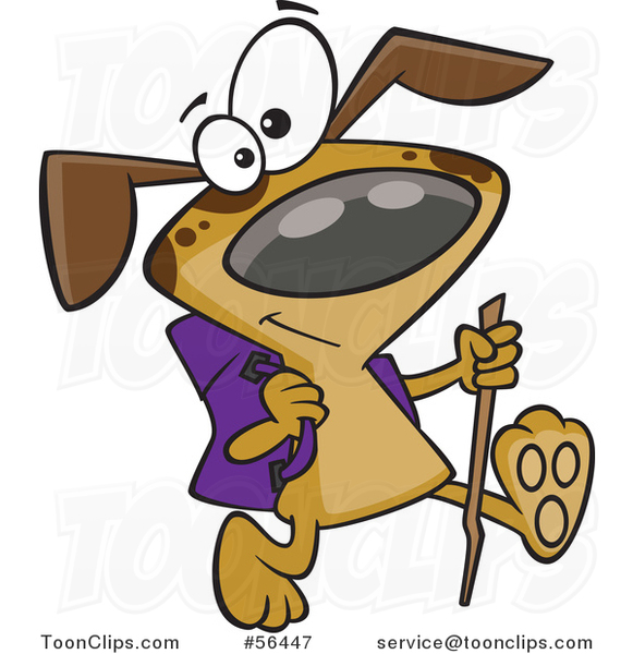 Cartoon Brown Dog Hiking with a Stick and Pack