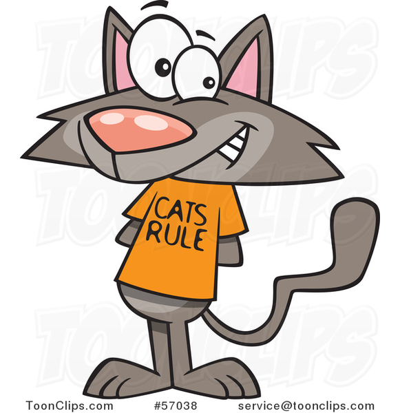 Cartoon Brown Kitty Wearing a Cats Rule Shirt