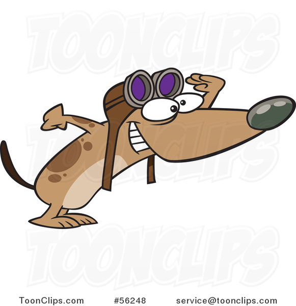 Cartoon Brown Pilot Dog Wearing Goggles and Peering Excitedly to the Right