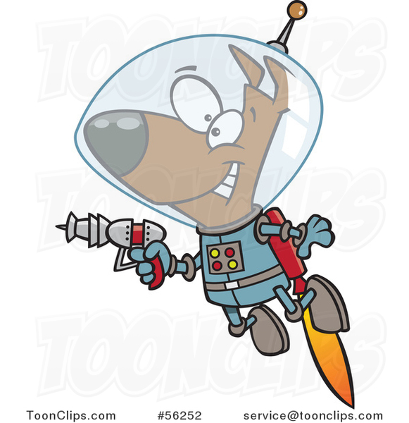 Cartoon Brown Space Dog Flying with a Jet Pack and Holding a Ray Gun