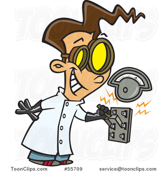 Cartoon Brunette Mad Scientist Boy Pulling an Electric Switch