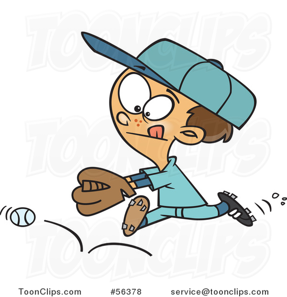 Cartoon Brunette White Boy Chasing a Bouncing Baseball